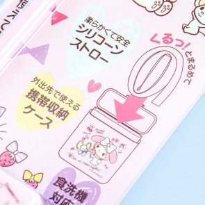 My Melody Pastel Pink Silicone Straw With Case