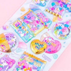 Yummy Capsule Hedgehogs & Candies Puffy Stickers