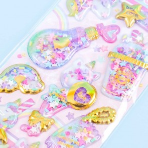 Yummy Capsule Rainbow Unicorn Party Puffy Stickers