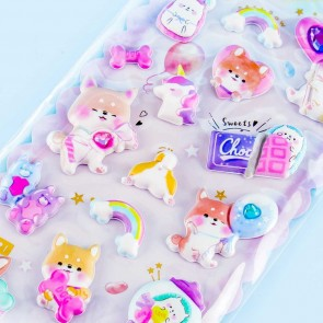 Colorful Time Shiba Puffy Stickers