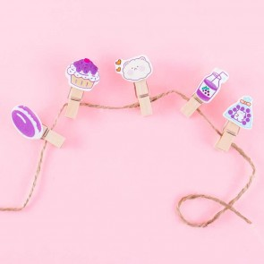 Purple Sweets Wooden Paper Clip Set With String - 10 pcs