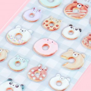 Animal Sweets Factory Donut Puffy Stickers