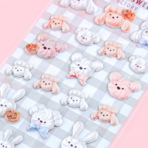 Animal Sweets Factory Croissant Puffy Stickers