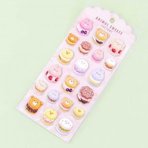 Animal Sweets Factory Macaron Puffy Stickers