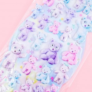 Googly Eyes Pastel Bears Puffy Stickers
