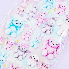 Googly Eyes Pastel Bunnies Puffy Stickers