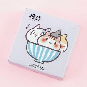 Cats In Rice Bowl Stickers