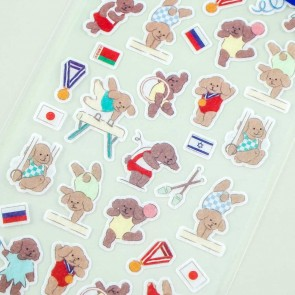 Animal Sports Large Seal Stickers - Toy Poodle Gymnastics